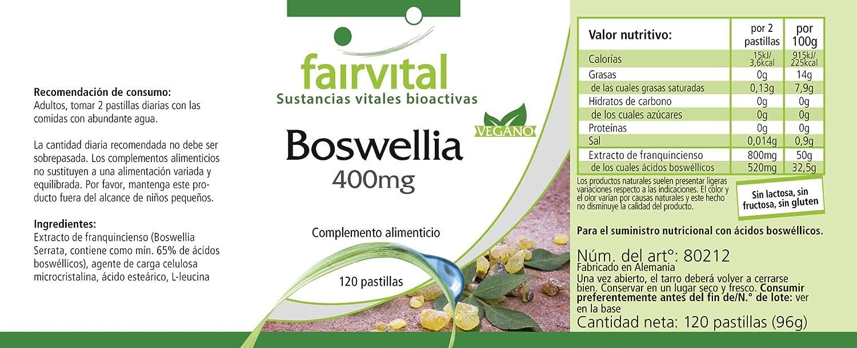 Boswellia incienso 400 mg - 120 comprimidos para 2 meses - VEGAN - Boswellia serrata 65% boswellic: Amazon.es: Salud y cuidado personal