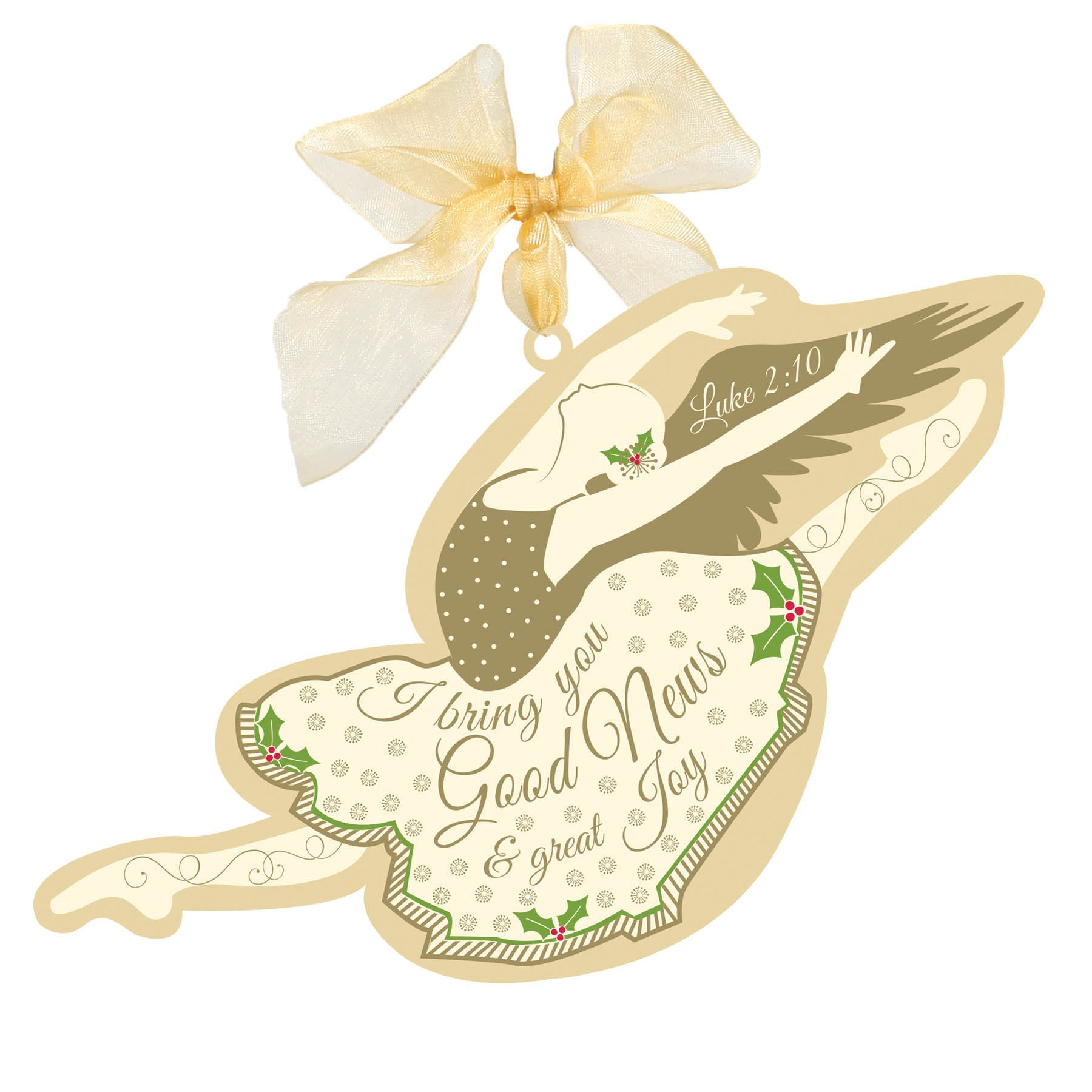 Lighthouse Gifts I Bring You Good News Gold Dancing Angel Ballerina Christian Christmas Ornament