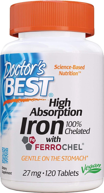 Doctor's Best Hierro De Alta Absorción, 27 Mg - 120 Pestañas 120 Unidades 80 g
