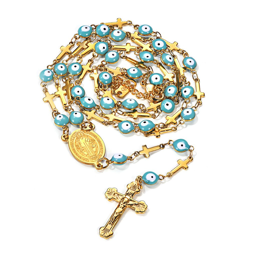 FaithHeart St. Benedict Medal Evil Eye Rosary Beads Charms Stainless Steel Christian Cross Long Chain Necklace (Gold)