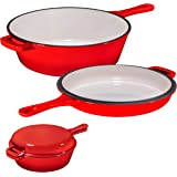 Enameled 2-In-1 Cast Iron Multi-Cooker By Bruntmor – Heavy Duty 3 Quart Skillet and Lid Set, Versatile Healthy Design, Non-St