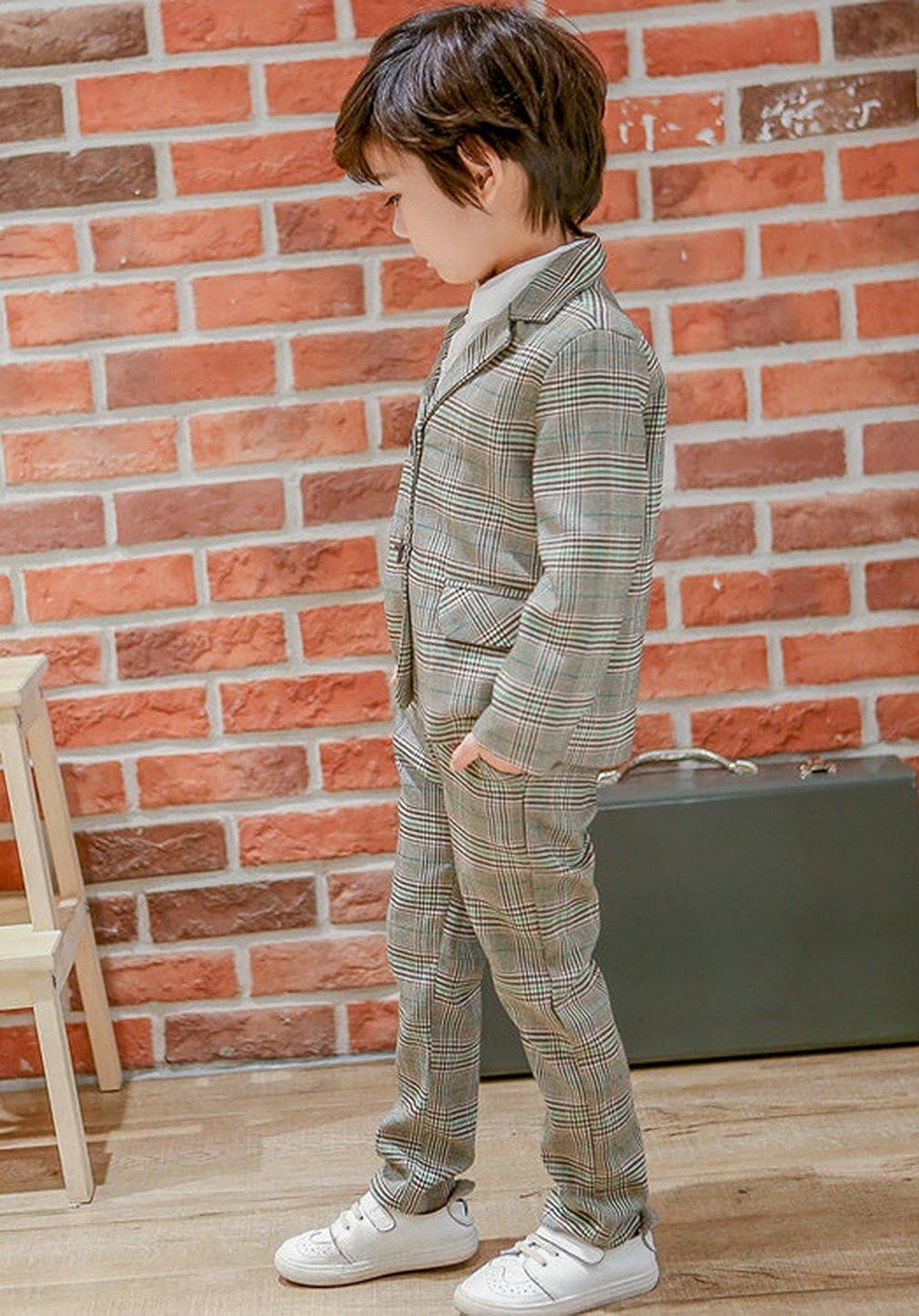 La Vogue Kids Boys Girls Plaid Suit Slim Fit Two Pieces Jacket Pants