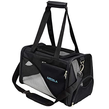 867e770d5ec7 Katziela Pet Carrier - Soft Sided, Airline Approved Carrying Bag for Small  Dogs and Cats, Front, Side and Top Mesh Ventilation Windows, Storage Pocket  and ...