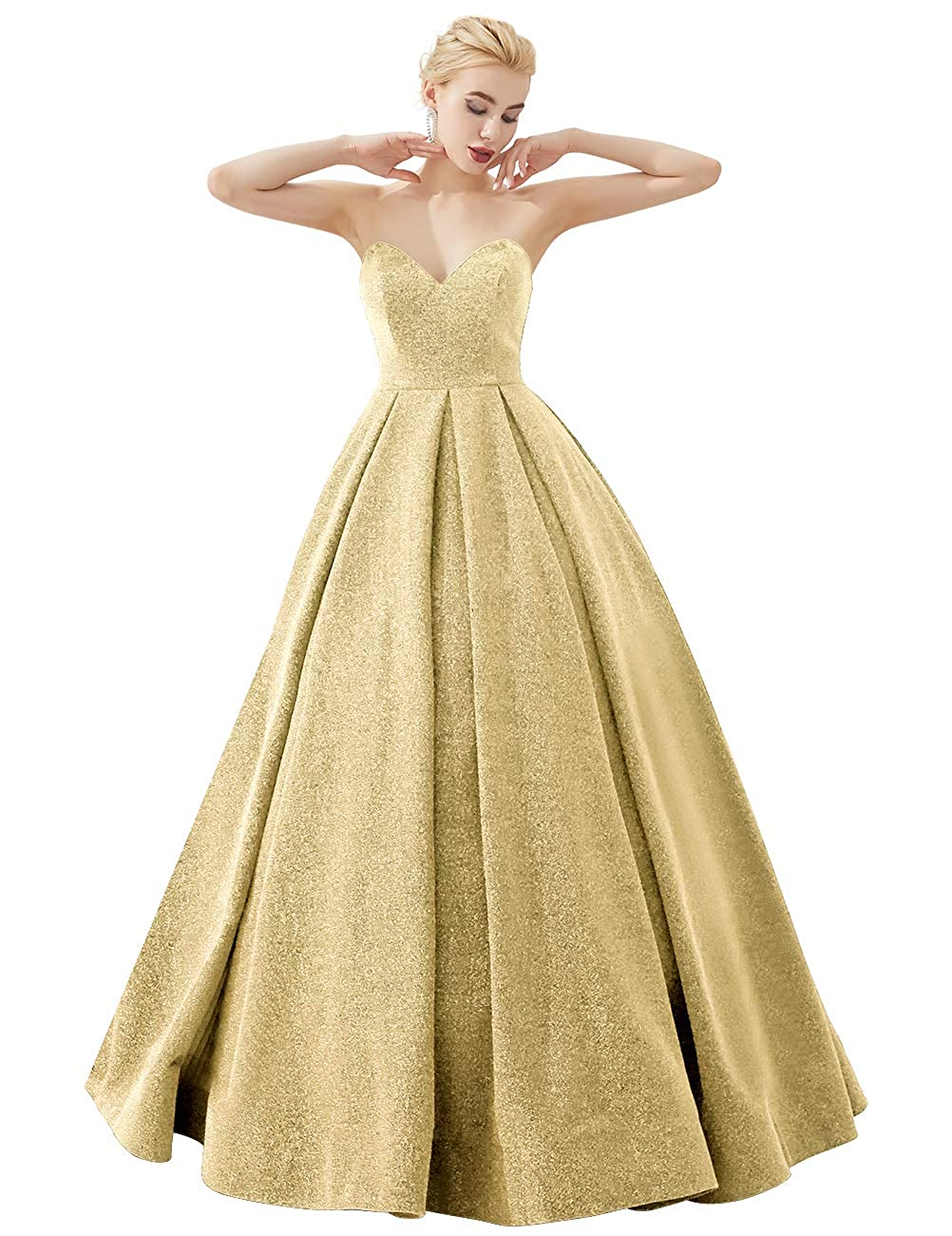 Champagne VKBRIDAL Women's Glittery Prom Dresses Long Formal Evening Party Ball Gowns