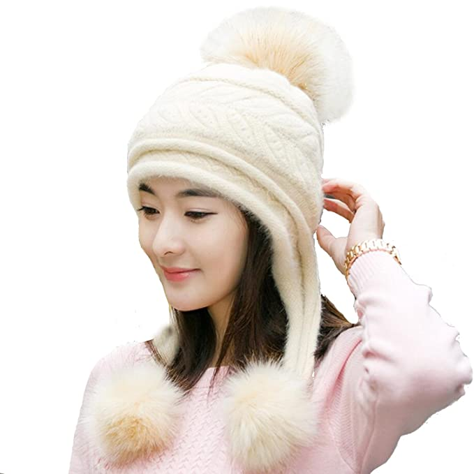 19e4d0559d67c USADNY Women s Ear Flap Hats With Pom Pom Thick Knit Three Faux Fuzzy Fur  Poms Skull