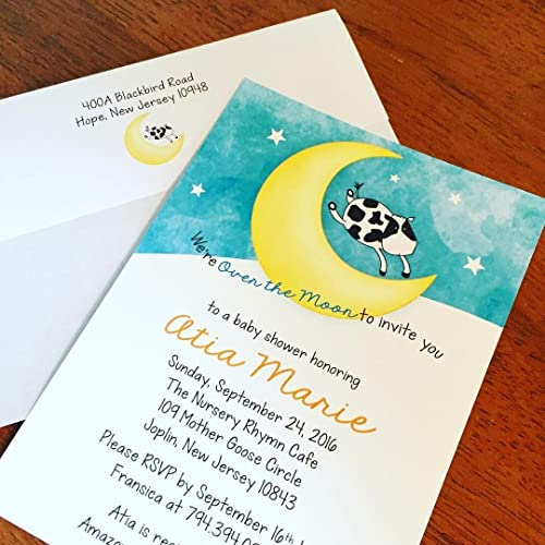 amazon com cow jumped over the moon baby shower invitations handmade