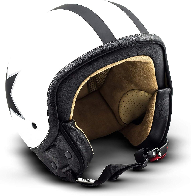 "61-62cm Soxon/® SP-301 Star /""White/"" /· Jet-Helm /· Motorrad-Helm Roller-Helm Scooter-Helm Bobber Mofa-Helm Chopper Retro Cruiser Vintage Pilot Biker Helmet Brille /· ECE Schnellverschluss Tasche XL"