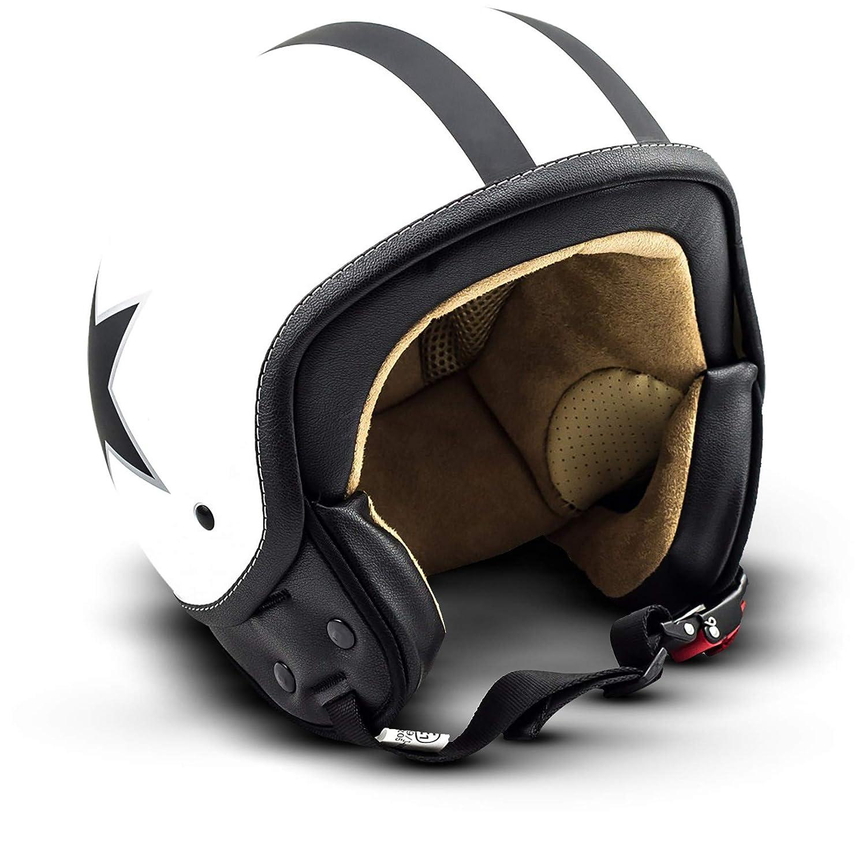 Noir Urbain SOXON SP-301-URBAN Black Casque Jet Chopper Cruiser Biker Pilot Vespa Moto Mofa Scooter Demi-Jet Retro Bobber Vintage Helmet 61-62cm ECE certifi/és compris le sac de casque XL