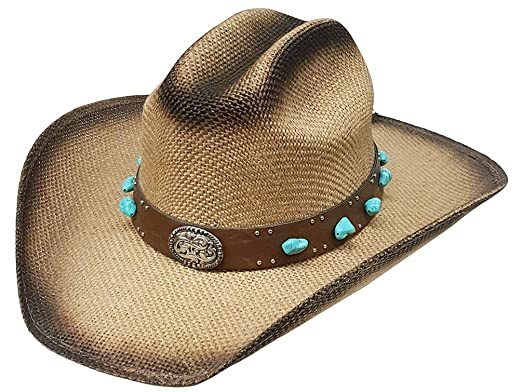 Image Unavailable. Image not available for. Color  Modestone Faux-Turquoise  Hatband Jute Cowboy HatBeige c98051fd4050