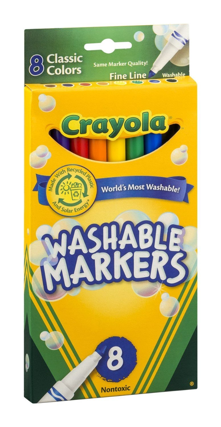 Crayola Ultra-Clean Washable Markers, Color Max, Fine Line Classic Colors 8 Ea (Pack of 2) 58-7809