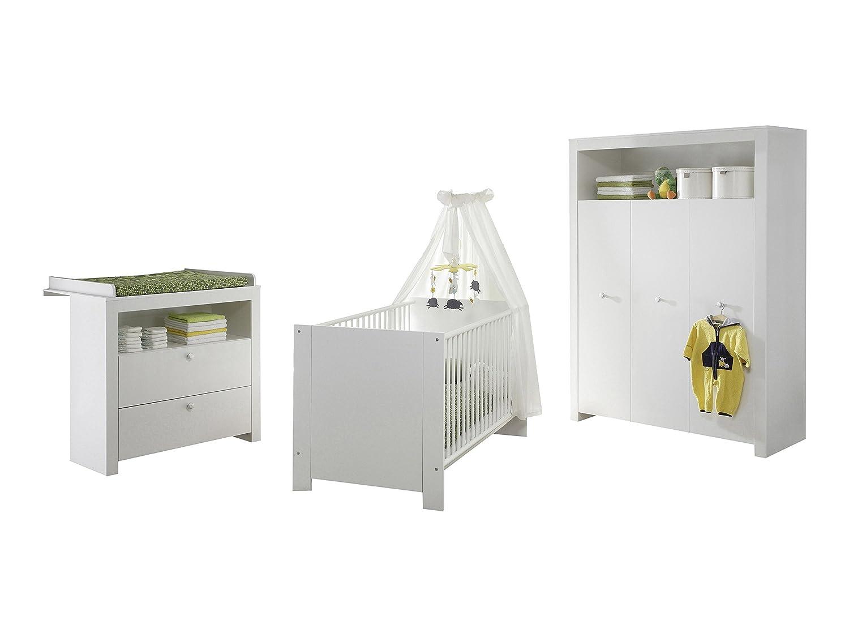 Furnline Olivia Nursery Furniture Room Set, Wood, White, 3 Piece