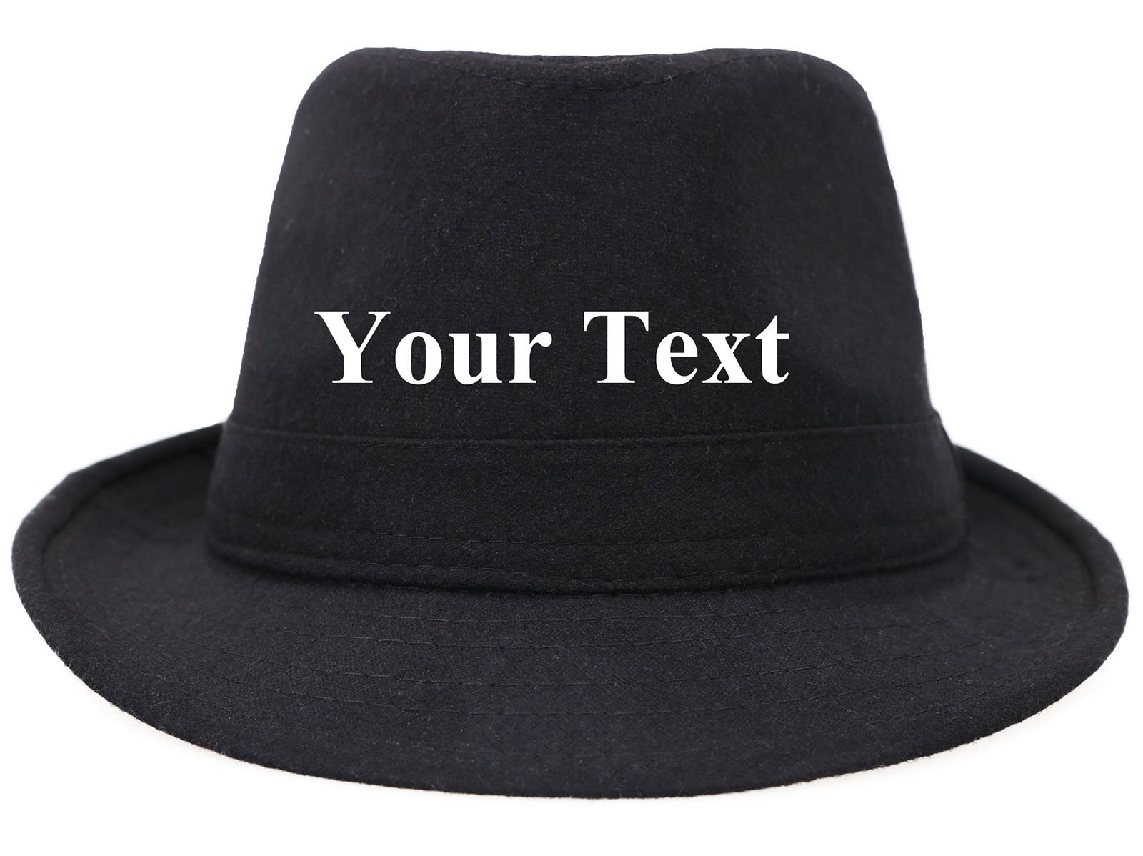 Custom Womens Mens Classic Structured Gangster Trilby Manhattan Fedora Hat Black