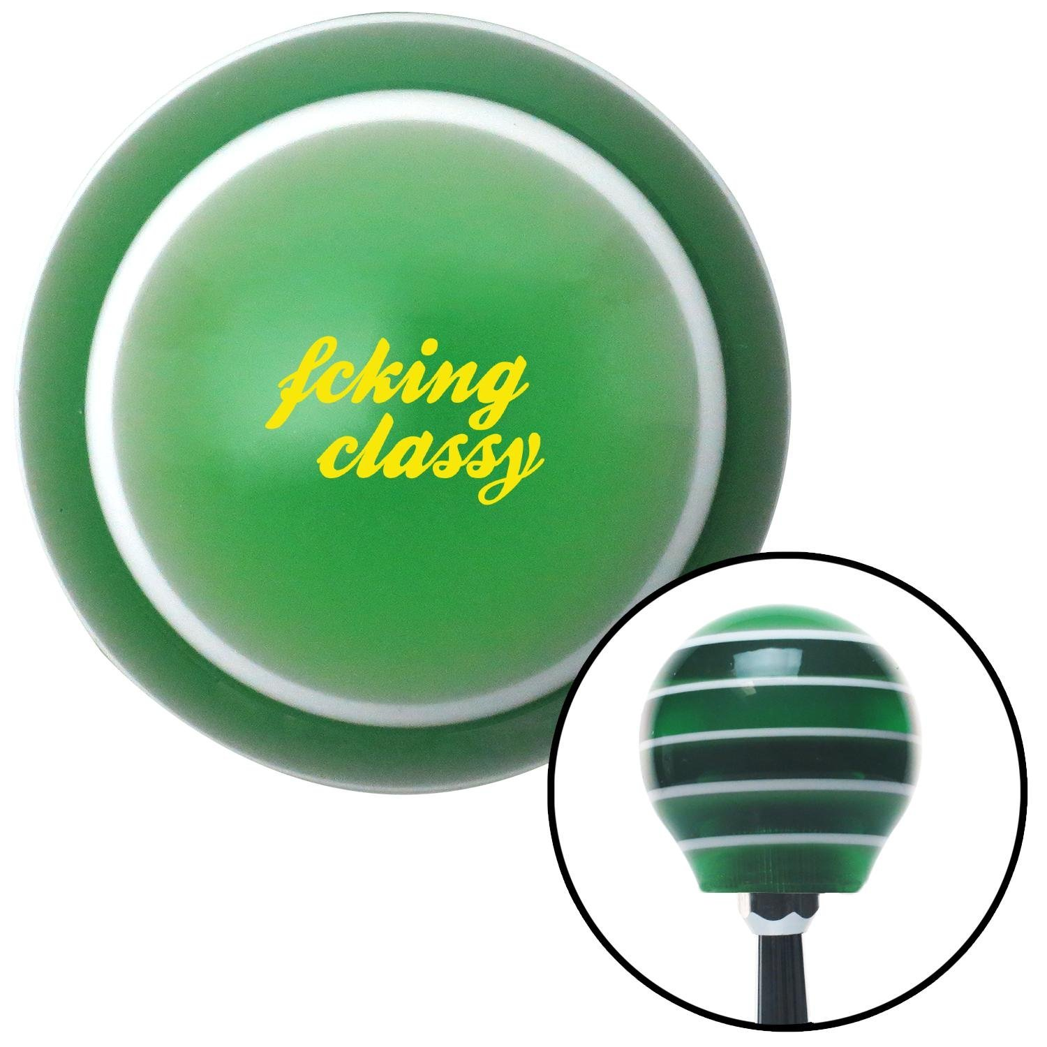 American Shifter 275801 Shift Knob Yellow Fcking Classy Green Stripe with M16 x 1.5 Insert