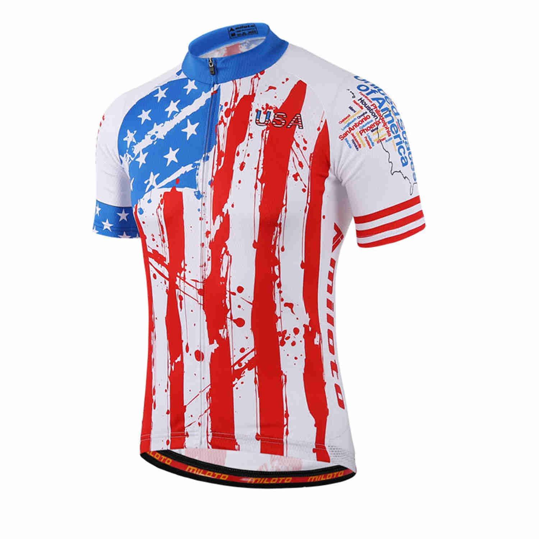 Amazon.com  MILOTO Men s Cycling Jersey Short Sleeve Reflective USA Flag  Size XL  Sports   Outdoors df27b6dc5