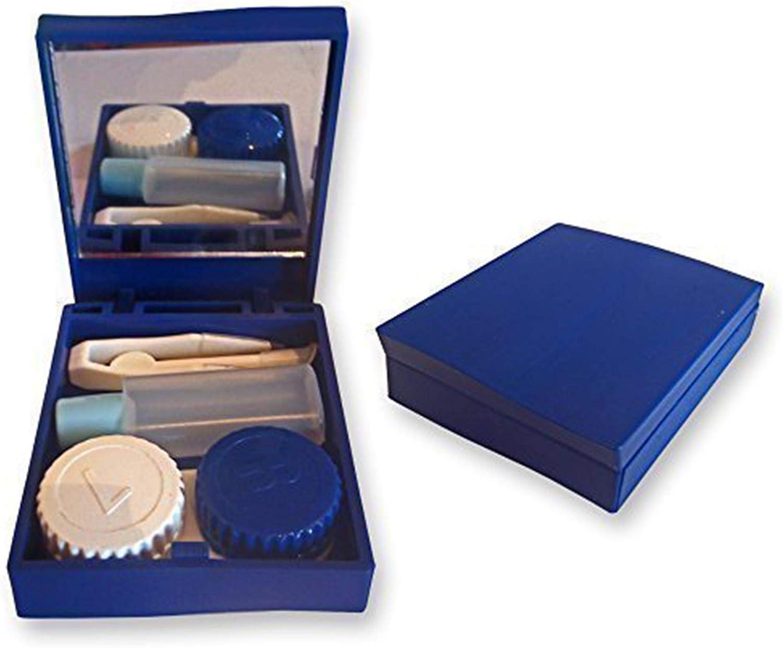 Set de Estuche Viaje para Lentes de Contacto ~ Espejo, Pinzas & Envase para Solución, Kit de Lentes (Azul): Amazon.es: Salud y cuidado personal