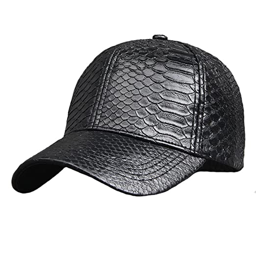 ff133fbb Image Unavailable. Image not available for. Color: Pu Adjustable Baseball  Cap Women Men Unisex Glossy Snake Skin Structured Caps Hat