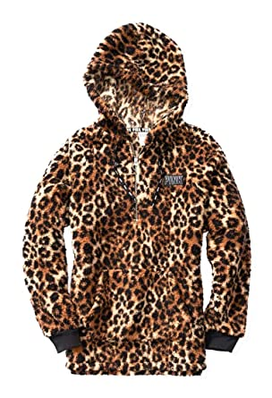 428f09fc20b Victoria s Secret Pink New Half Zip Sherpa Hoodie Leopard Prints (Sold Out  Online) (