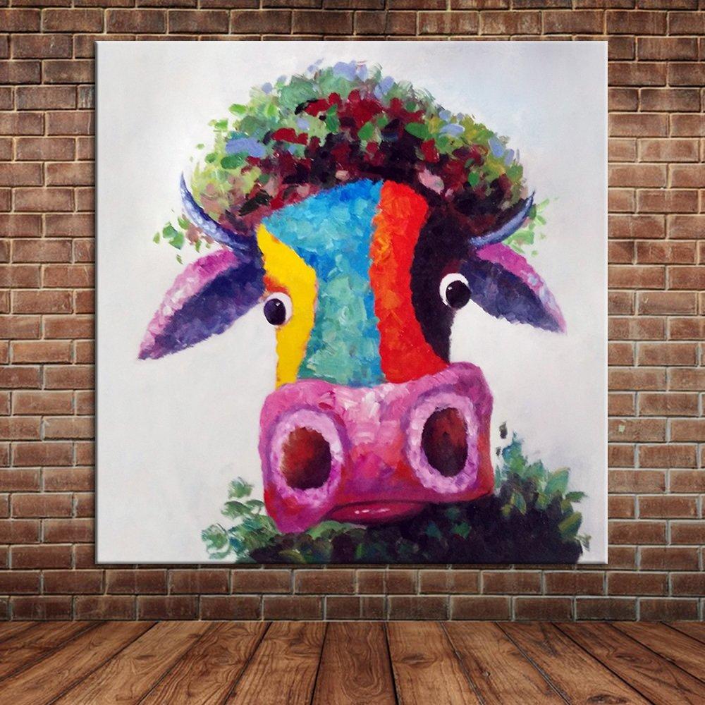IPLST@ Bunte Kuh-Ölgemälde-Karikatur-Tierwand-Bild-Segeltuch-Kunst ...