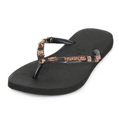 d798a4737 Havaianas Women s Special Collection Slim Hardware Flip Flop Black Gold   Amazon.co.uk  Shoes   Bags