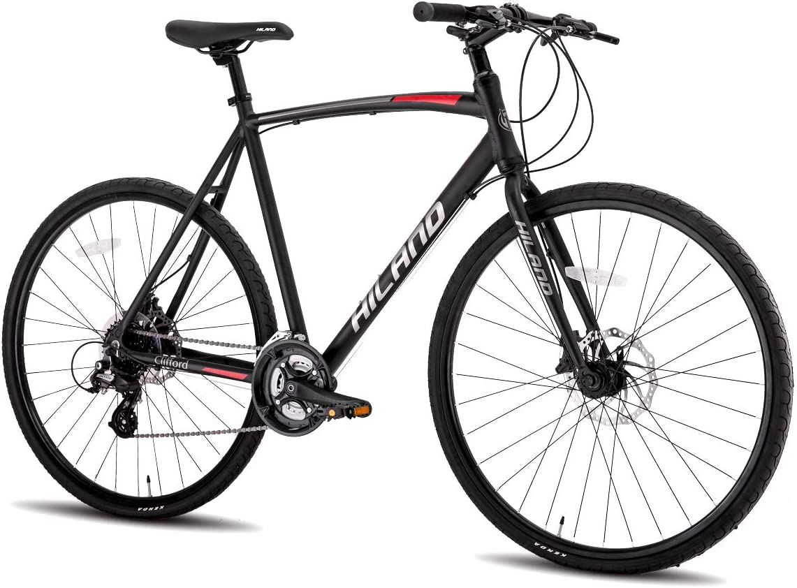 Hiland Aluminum Hybrid Fittness Road Bike for Men Women,Urban Commuter Bicycle with 24 Speeds Dual Disc-Brake
