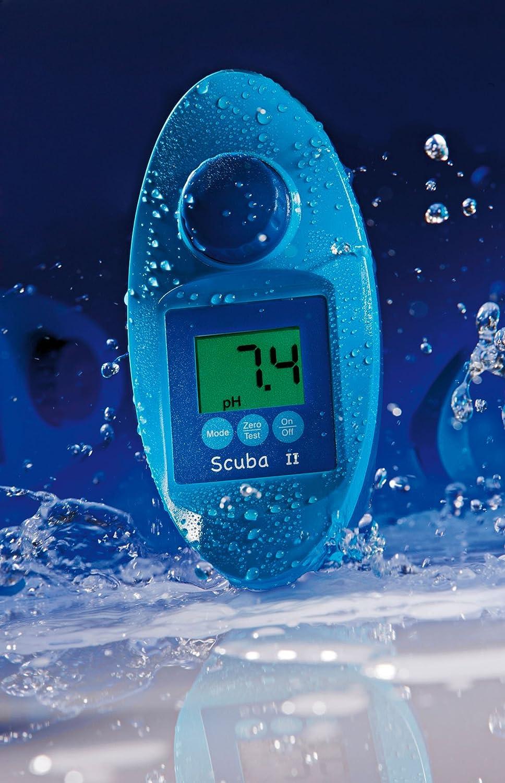SCUBA II–Probador de piscina electrónico Scuba II + Pastillas–para medición de cloro y pH– Medidor de agua para piscinas privadas