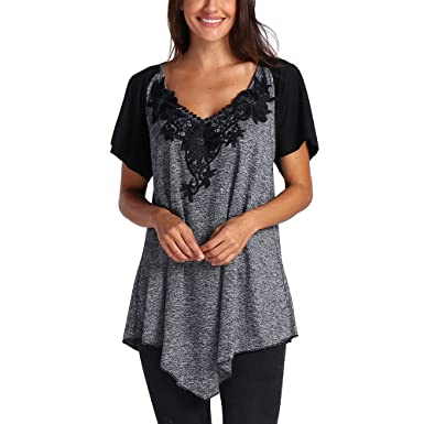 c4e85c336c742c Women's Tops Plus Size T-Shirts Short Sleeve Tee V Neck Blouse A-Line Tunic  Clearance at Amazon Women's Clothing store: