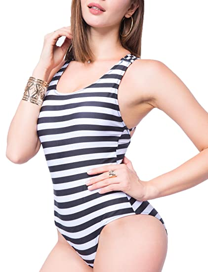 3e8b15beee8 COLO Stripe One Piece Swimsuit White Black Padded Strap Plus Size Monokini  Sexy High Cut Bandage