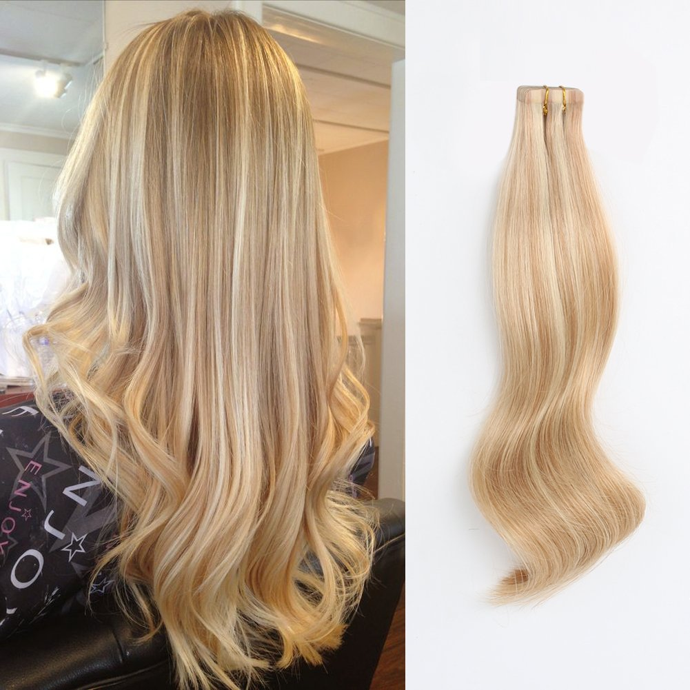 ABH AmazingBeauty Hair Pre-taped 50g 20pcs Blond Highlight Tape in Hair Extensions Human Hair Skin Weft, Invisible, Seamless and Reusable, Dark Dirty Blonde with Platinum Ash Blonde P12-60, 14 Inch