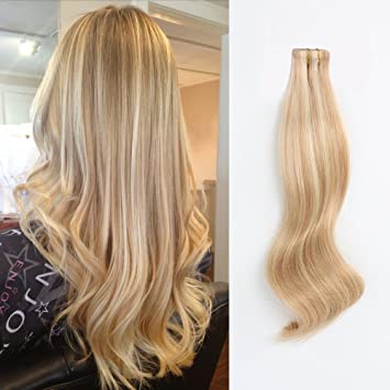 Amazingbeauty Pre Taped 50g 20pcs Real Remy Human Hair Blonde Highlights Tape In Extensions Skin