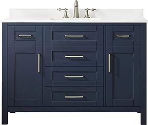 Ove Decors Midnight Blue Maya 48 Set Bathroom Vanity Freestanding Cabinet, 48 inches
