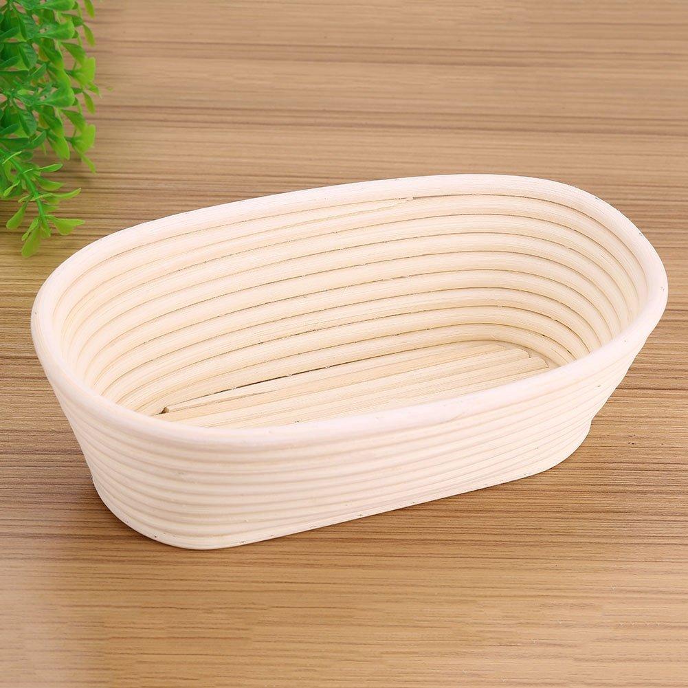 Banneton Proofing Basket Set, Handmade Unbleached Natural Cane Banneton Proofing Basket Dough Bread Baking Kit(25158cm) by Aramox