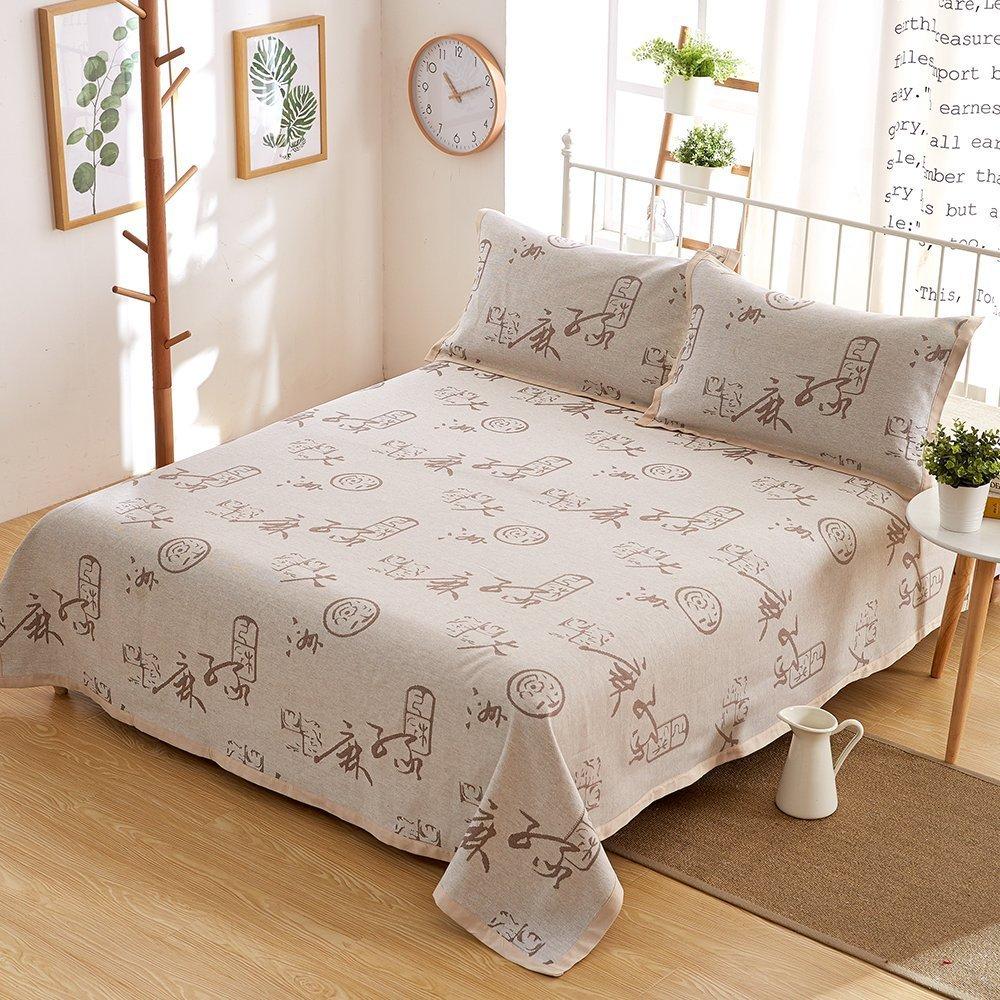 Oasis Hemp Bedding Pastoral Style British Style Bedding Sheet Set Pillowcase Pack of 3, 55% Hemp 45% Organic Cotton - 7637 - Chinese Characters Pattern 70.8 x 78.7 Inch