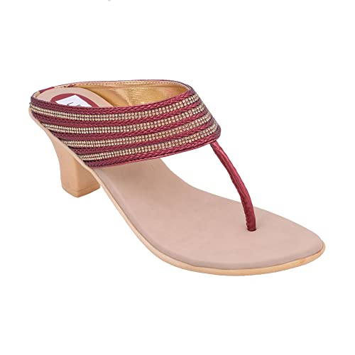18baabc683fb6 Feray Fashion Smart Casual Stylish Red And Gold Braided Box Pvc Sandal For  Women And Girls