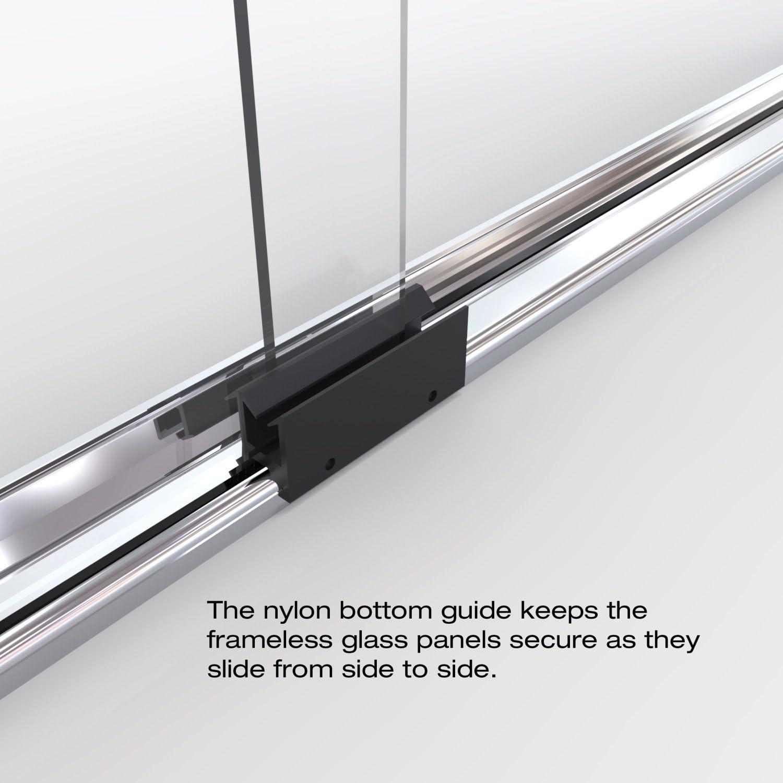 Basco Infh05a5857rnsv Infinity Semi Frameless Sliding Tub Door Silver Amazon Com