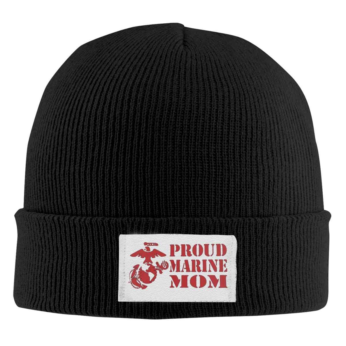 Dunpaiaa Skull Caps US Marine Corps Proud Mom Winter Warm Knit Hats Stretchy Cuff Beanie Hat Black