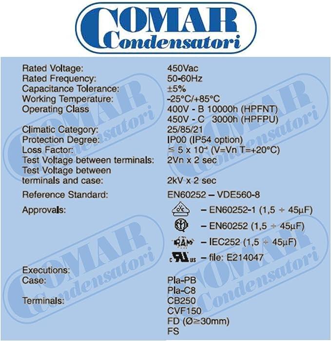 Made in ITALY Motor Comar CONDENSER CAPACITOR MK 14UF 13.5 UF ~ 14UF 14.5 14.7 UF 450V 450Vac