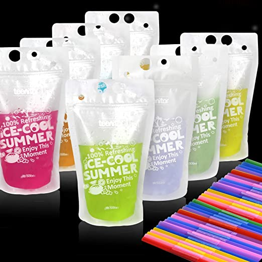 Teenitor 100 Drink Pouches Bags with 100 Disposable Plastic Straws, Smoothies Protein Shakes Juices Drink Bags Bags, Stand up Drink Container Non-Toxic16oz