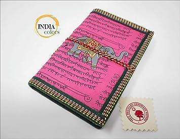 India Colors Regalo Agenda Album Fotos Diario Bloc Cuaderno Viajes Libro visitas. Modelo pequeño. Hecho a Mano en India. Papel Artesanal algodón ...