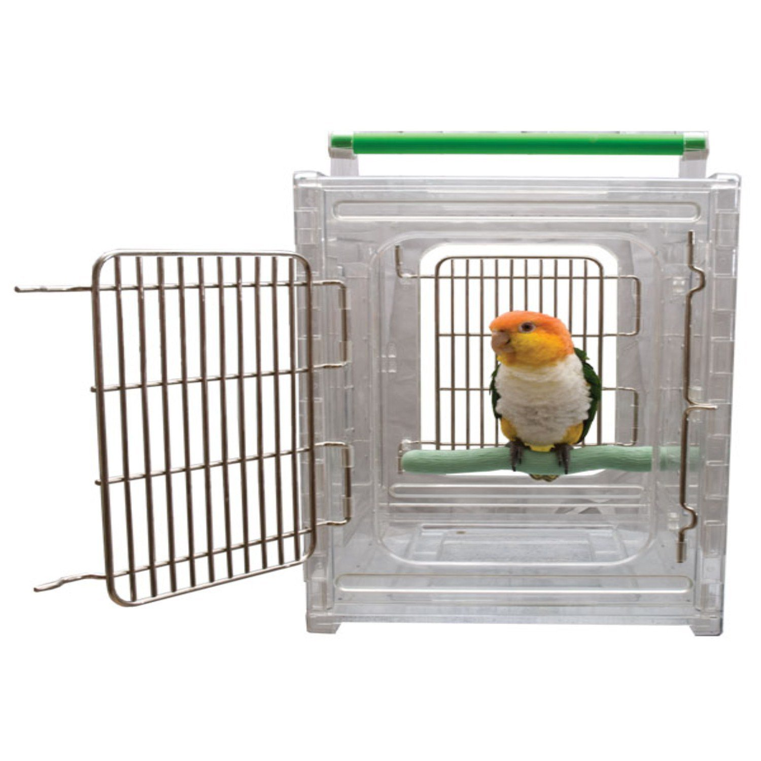 CaitecPerch & Go Polycarbonate Bird Carrier, Clear View Travel Cage by Paradise Toys