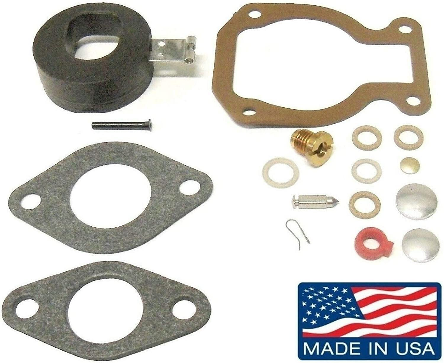 Carburetor Kit Made in USA with Float for Johnson Evinrude 4, 4.5, 5, 6 7.5 8 9.5 15 Hp 1974-1988 398452 18-7223 Please Read Product Description for Exact Applications