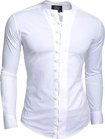D&R Fashion Camisa Fashion pintoresco Hombre con Cierre bucles y Cuello Equipo: Amazon.es: Ropa y accesorios