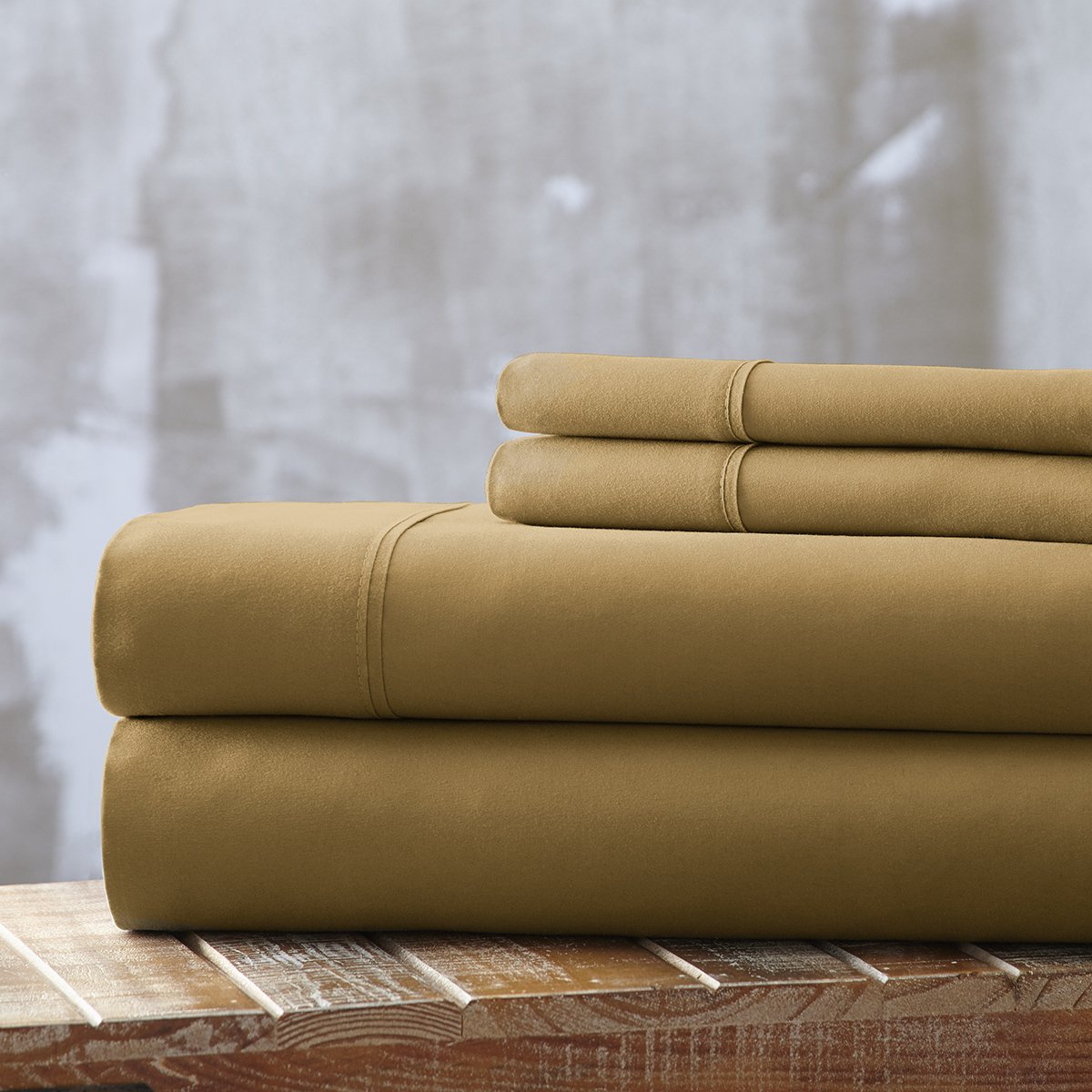 Spirit Linen, Inc Hotel 5th Ave EE-QUEEN-GOLD-4PC Queen Gold Everyday Essentials 1800 Series 4Pc Sheet Set