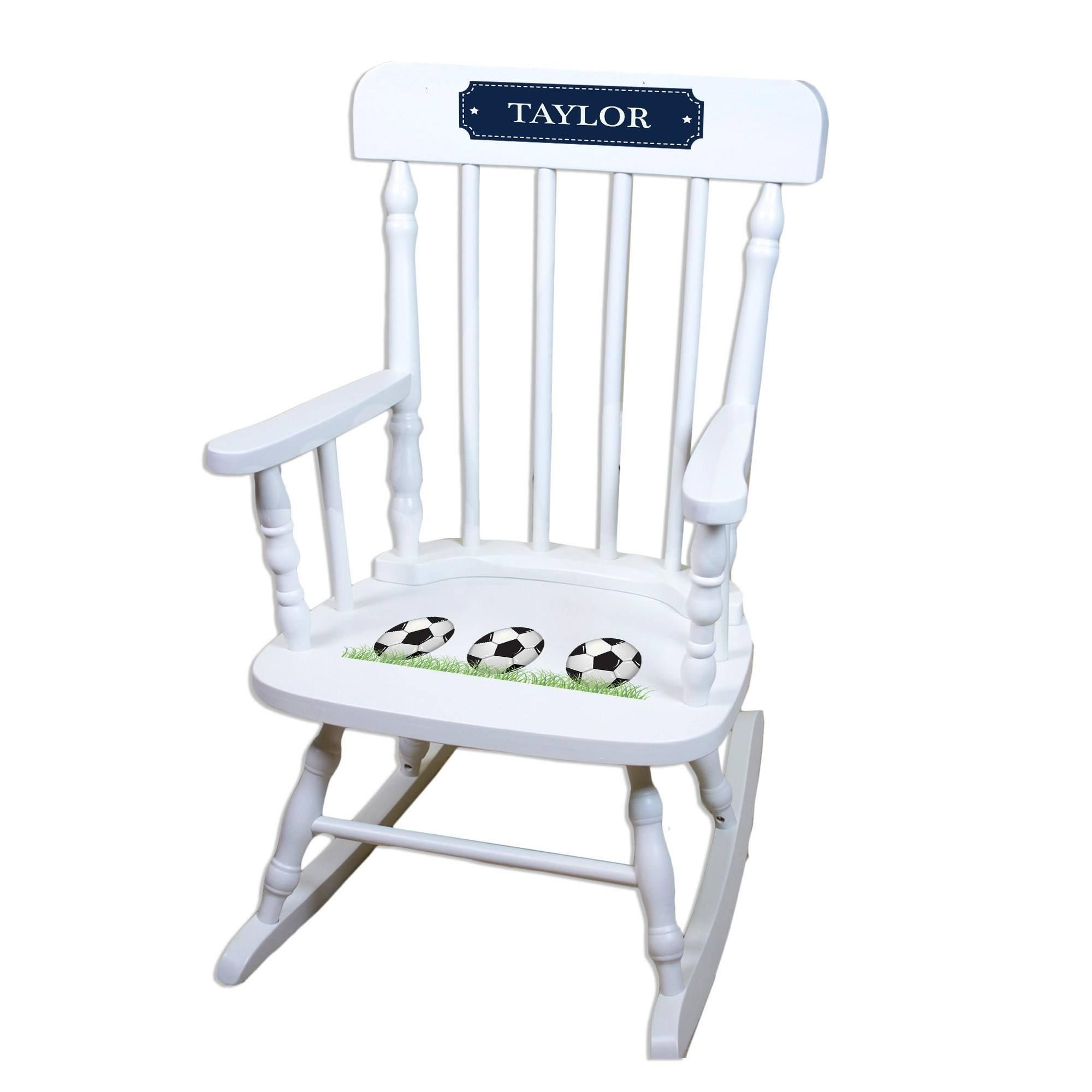 MyBambino Personalized Soccer Balls White Wooden Childrens Rocking Chair