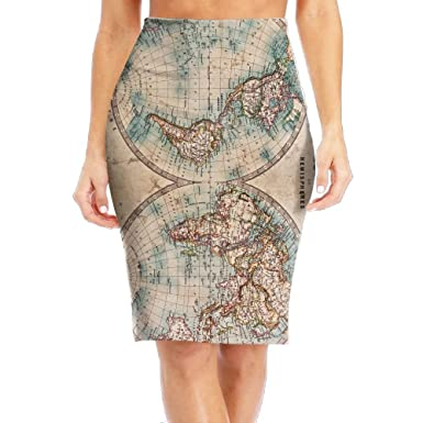 Old Stained World Map Women S Fashion Printed Pencil Skirt At Amazon