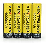 Intsun® 4pcs 3.7V 18650 4000mah Rechargeable Li-ion Battery with PCB for LED Flashlight, Headlamps, search light lamp, etc (4xBattery)