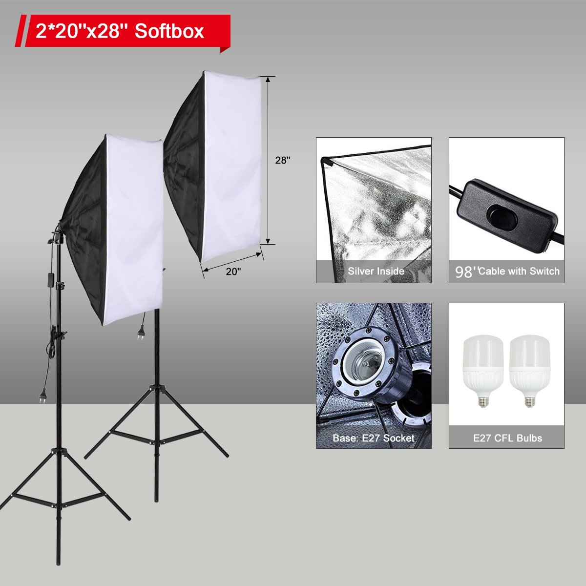 Belle Max (2)20''x28''Photography Softbox Lighting Kit Photo Studio Equipment,Including (2) 28W LED Bulbs,(1)24'' 2-in-1Reflector, Ideal for any vlog, portrait, costume and object photography by Belle Max (Image #3)