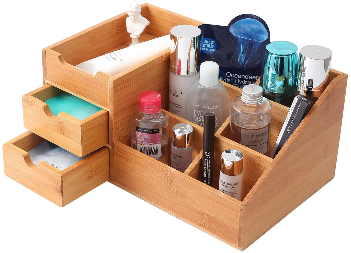 Amazon Com Homode Makeup Organizer Bamboo Wood Vanity Countertop Organizer Cosmetic Jewelry Storage Tray With Drawers For Bathroom Home Kitchen