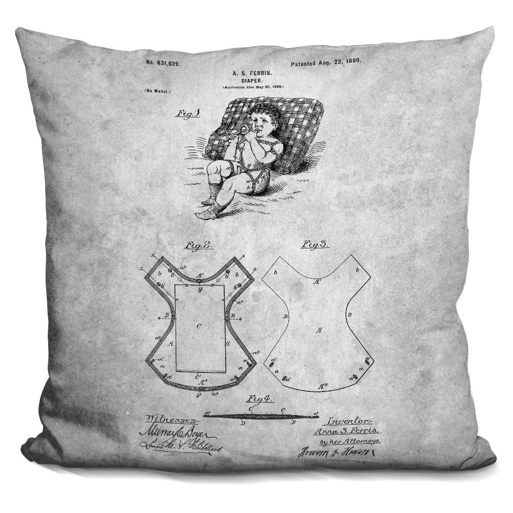 LiLiPi Diaper Blueprint Decorative Accent Throw Pillow