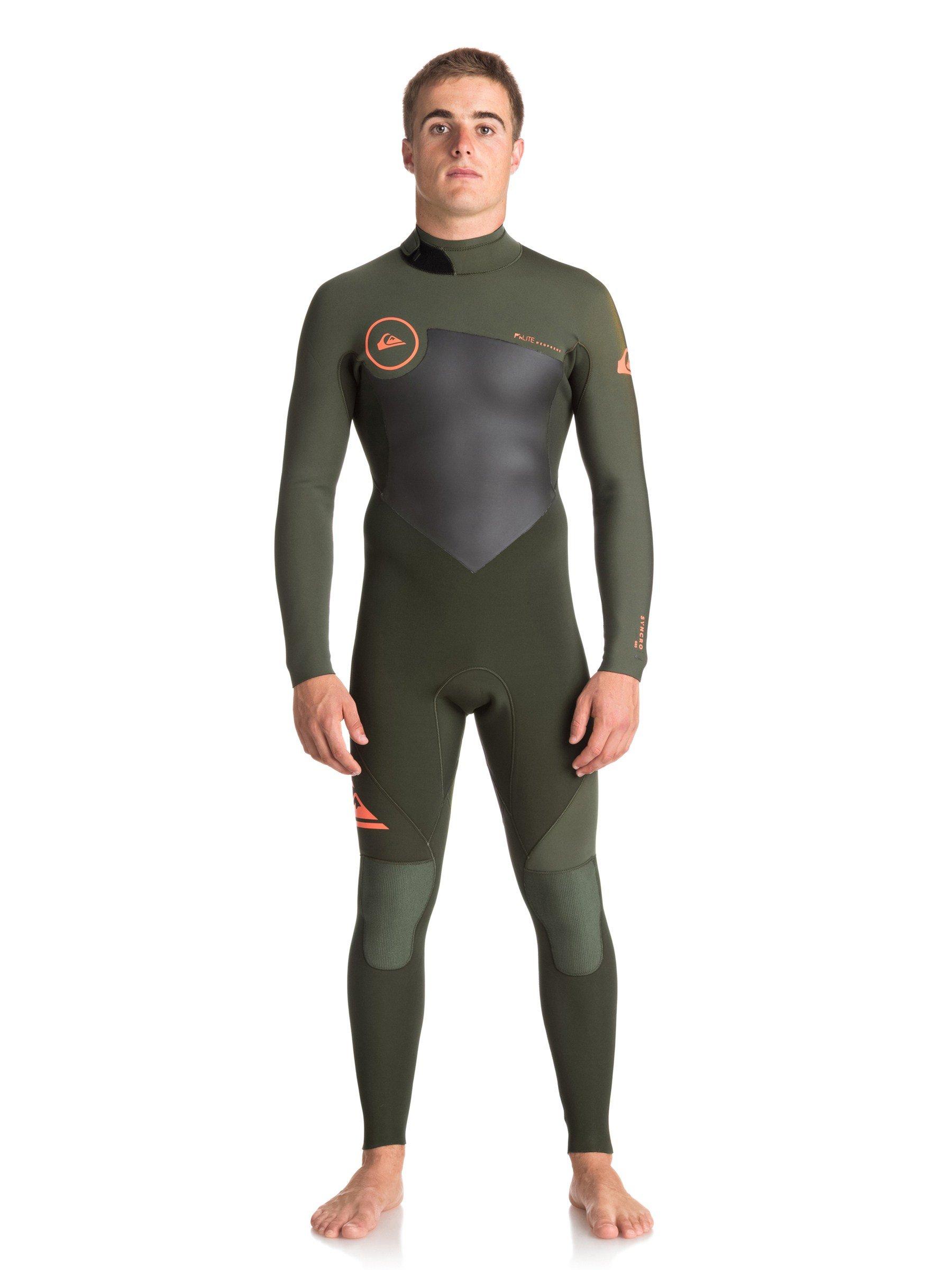 Quiksilver Mens 4/3Mm Syncro Series Back Zip Gbs - Full Wetsuit Full Wetsuit Dark Ivy/ Ivy/ Shrimp Pink L
