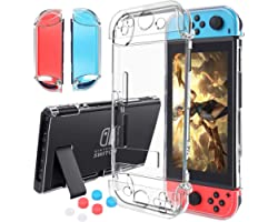 Case Compatible with Nintendo Switch,Case Updated Version Dockable and Scratch Free Ultra Slim Protective Cover Case with 6 T